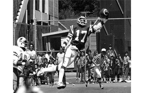 Spectacular catches by Joey Walters, including this one-handed touchdown grab in 1982, made him a favourite with Saskatchewan Roughriders fans.      StarPhoenix files