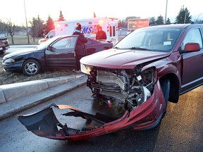 A two vehicle accident on Wednesday morning at Argyle Street North and the Ring Road on ramp in Regina on December 09, 2015.