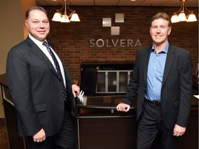 Reg Robinson, left, and Jim Ostertag, managing partners with Solvera Solutions, a Regina-based IT firm celebrating its 10th anniversary on Thursday.
