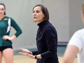 University of Regina Cougars head coach Melanie Sanford, shown here during a practice in January, hopes her team's young players gained experience during the 2015-16 season.