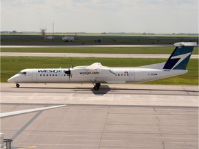 A WestJet Encore Q400 aircraft taxis at Regina International Airport is part of the domestic traffic that's the core of the airport's business.