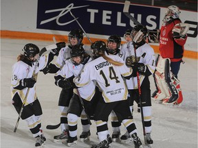 Weyburn Gold Wings players celebrate a goal against Metro Boston Pizza in Esso Cup action Wednesday at Crescent Point Place.