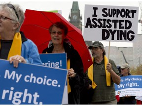 Supporters rally outside the Supreme Court of Canada on the first day of hearings in 2014 into whether Canadians have the right to seek help to end their own lives.