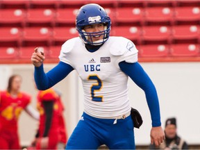 UBC kicker/punter Quinn van Gylswyk had a lot to celebrate after being selected in the third round of Tuesday's CFL draft by the Saskatchewan Roughriders.