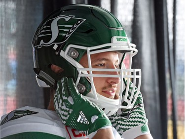 Justin Capicciotti at the launch of the new Saskatchewan Roughriders adidas uniforms for the 2016 season. The black trim was removed from the jersey and the numbers and the pants feature four stripes on the left side – each one representing a Grey Cup victory over the years.