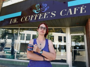 REGINA SK: JUNE 24, 2016 -- Annabel Townsend at her business, Dr. Coffee's Cafe in downtown Regina. Townsend is from the UK and mailed in her vote to remain in the European Union. DON HEALY / Regina Leader-Post