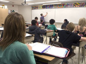 A Grade 8 classroom is shown in Martensville. It's been suggested Saskatchewan combine public and separate schools into a single system to save money and end duplication of services.