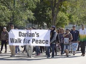"""""""Darian's Walk for Peace"""" was held in the city's north-central neighbourhood on Sept. 18, 2015 in memory of homicide victim Darian Moise on what would have been his 17th birthday."""
