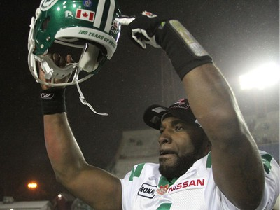Saskatchewan Roughriders quarterback Darian Durant celebrates their win against the Calgary Stampeders during their game at McMahon Stadium in Calgary on November 21, 2010.