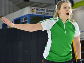 Sara England, shown competing at the 2017 Canadian junior women's curling championship, won the A-event championship at the Regina Ladies Bonspiel on the weekend.