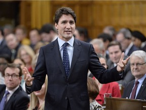 Prime Minister Justin Trudeau answers a question during Question Period in the House of Commons in Ottawa, Wednesday, Feb.8, 2017.