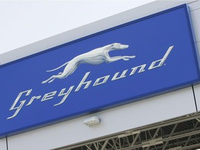 A Greyhound logo is shown at the Greyhound Terminal at the James Richardson International Airport in Winnipeg on September 3, 2009.