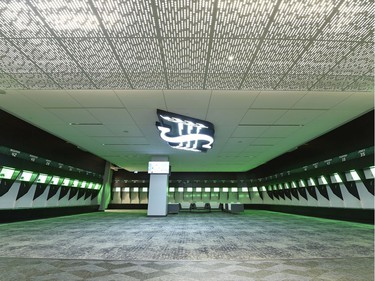 A look at the locker room during a media tour of the Roughriders' facilities at the New Mosaic Stadium in Regina.
