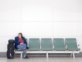 Phyllis Hollinger sits at the Saskatchewan Transportation Company bus terminal. Hollinger left Moose Jaw this morning expecting to arrive at Melville by this evening, but numerous routes were cancelled Wednesday, the same day Saskatchewan government announced that STC will be phased out as a government-run business.