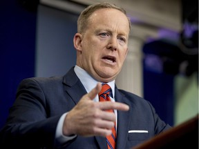 White House press secretary Sean Spicer talks to the media during the daily press briefing at the White House in Washington, Tuesday, April 11, 2017. Spicer discussed Syria, Trump's 2016 tax returns, the Easter Egg Roll and other topics.