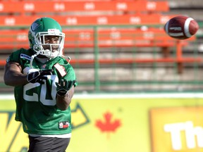 Former Saskatchewan Roughriders running back Wes Cates, shown in 2010, was a guest coach at the Green and White's training camp.