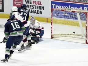 The Seattle Thunderbirds celebrate a Keegan Kolesar goal in the third period 3rd goal to tie the game 3-3 and force overtime against the Regina Pats at the Brandt Centre in game 6 of the WHL final in Regina.
