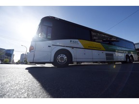The final Regina outbound STC passenger bus leaves the downtown terminal in Regina.