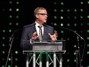 Premier Brad Wall addresses the crowd at the Annual Premier's Dinner at the Credit Union EventPlex in Regina.