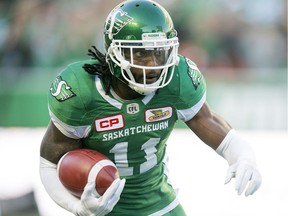The Saskatchewan Roughriders' Ed Gainey is shown after one of his career-high four interceptions on Sunday.