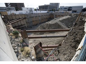 No work was going on at the Capital Pointe project on the corner of the Vitoria Avenue and Albert Street in Regina on Monday.