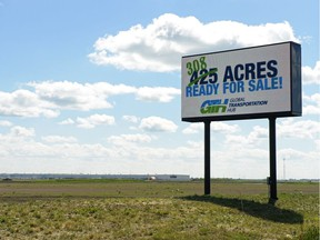 An electronic sign advertises land available for purchase at the Global Transportation Hub west of Regina on June 30, 2016.