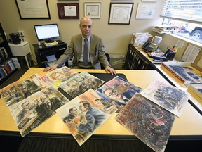 Regina lawyer Gerald Heinrichs with his collection (19 in total) of Watergate hearing paintings by American artist Freda L. Reiter, who was a courtroom artist who covered the Watergate burglary trials for ABC News.