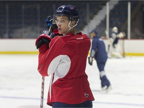 Russian defenceman Egor Zamula, shown during a recent practice with the Regina Pats, is on Central Scouting's watch list for the 2018 NHL draft.