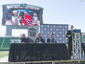 The Regina Pats held a press conference at Mosaic Stadium on Oct. 6 to announce the Centennial Salute Homecoming Weekend, which was to be held in February 2018. The event included two outdoor games, but those contests will now be moved indoors due to slow ticket sales.