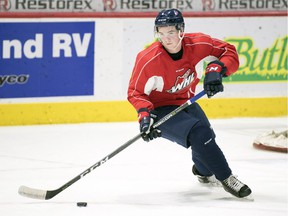 Newly acquired defenceman Cale Fleury took part in his first practice with the Regina Pats on Tuesday.