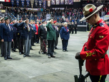 Members of the veterans company, left, salute as an RCMP member, right, stands as a sentry during the Remembrance Day service at the Brandt Centre.