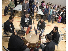 The Charging Bear Performance drumming group performs at the first Reconciliation Regina public event at the mâmawêyatitân centre in Regina.