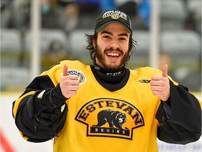 Do Didur, shown in this file photo, made 36 saves for the Estevan Bruins on Sunday as they blanked the visiting Nipawin Hawks 4-0.