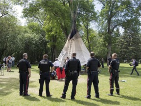 Members of Wascana  Centre Authority and the Regina Police Service were in Wascana Centre to take down the teepee at the Justice For Our Stolen Children camp in Regina.