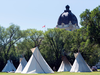 Teepees at the Justice for Our Stolen Children camp near the Saskatchewan Legislative Building in Regina on June 27, 2018.