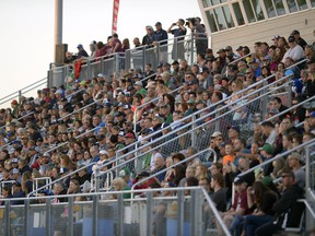 Regina Thunder and Winnipeg Rifles packed the stands at Leibel Field on Sept. 3, 2016. The teams are to meet again at Leibel Field on Saturday, 4 p.m., in PFC action