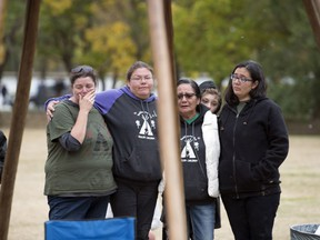 REGINA, SASK :  September 12, 2018  --  Members of the Justice for Our Stolen Children camp, across from the Legislative Building, take down the final teepee in Regina. TROY FLEECE / Regina Leader-Post