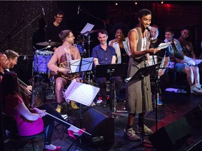 Shaun Brodie (centre, smiling) and the Toronto-based Queer Songbook Orchestra will perform in Regina on Oct. 3, 2018.