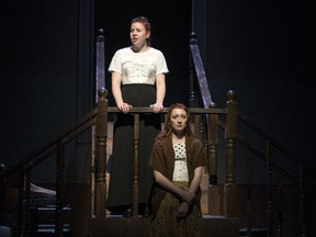 Rachel Walliser, top, and Nicole Garies each portray Lizzie Borden in Blood Relations, which is being produced by the University of Regina theatre department.