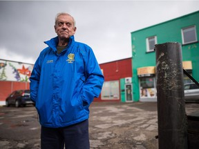 Former Regina mayor Larry Schneider stands on Broad Street near of the location where the Broadway Theatre once stood. Schneider says the street used to be more vibrant in years gone by.