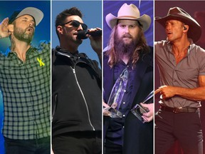 Dallas Smith (from left), Jake Owen, Chris Stapleton and Tim McGraw are headliners for the 2019 Country Thunder festival in Craven, Sask.