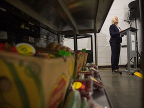 Mosaic's new senior vice president, potash, Karen Swager speaks to members of the media Wednesday at the Regina and District Food Bank regarding $2.5 million in funding for hunger programs around the province.