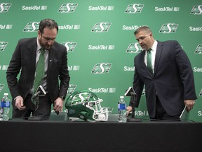 Saskatchewan Roughriders president and CEO Craig Reynolds, left, announces that Jeremy O'Day is the club's new general manager on Jan. 18, 2019.