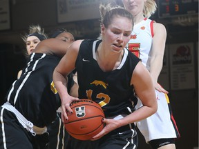 Christina McCusker of the University of Regina Cougars women's basketball team had 10 points and seven rebounds in Friday's series-clinching win over the host University of Calgary Dinos.