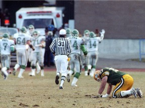 Edmonton Eskimos guard Randy Ambrosie struggles with his disappointment after the Eskimos lost to the Saskatchewan Roughriders in the CFL's 1989 West Division final.