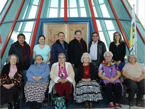 The kêhtê-ayak Elders Council gathers in the First Nations University of Canada. (Photo courtesy of Merelda Fiddler, First Nations University of Canada)