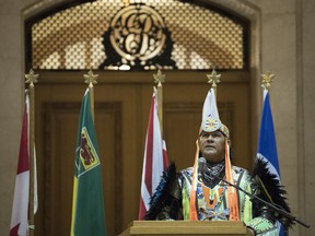 Rod Belanger, Sixties Scoop Indigenous Society of Saskatchewan board member, speaks at a ceremony in the Rotunda at the Legislative Building in Regina. Premier Scott Moe made an official announcement on behalf to the provincial government to apologize for the Sixties Scoop.