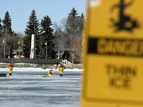 Regina Fire and Protective Services conducted ice rescue training on Wascana Lake this week, bringing attention to the need to take care around thin ice as the spring melt continues.