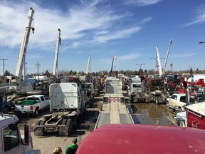 Trucks parked at Evraz Place before the anti-carbon tax rally.