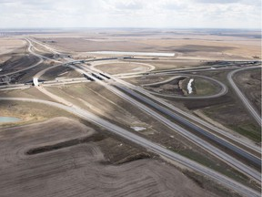 An aerial view of the Regina bypass as it intersects with the Trans-Canada Highway on the west side of Regina.